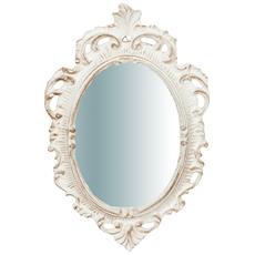 Specchiera Da Parete In Legno Finitura Bianco Anticato Made In Italy L19xpr2xh30 Cm