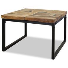 Tavolino Da Caffè In Legno Di Teak E Resina 60x60x40 Cm