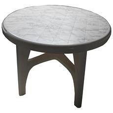 """Tavolo Da Esterno Modello """"boss"""" Di Scab Design Colore Bianco E Effetto Marmo, Ø 95 Cm."""