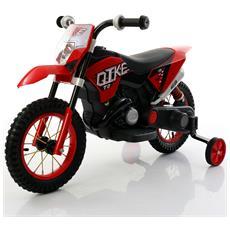 Moto Cross Elettrica Ruote In Gomma 6 Volt 7 / ah Colore Rosso