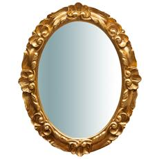 Specchiera Da Parete In Legno Finitura Foglia Oro Made In Italy L50xpr4xh65 Cm