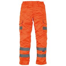 Pantaloni In Policotone Con Bande Riflettenti Uomo (taglia 38 Inch / 96 Cm - L) (arancio)