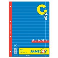 Ricambio per quaderno ad Anelli A4 Righe 0C 4 fori rinforzati - Bianco