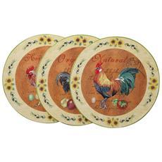 Set Tre Piatti Decorativi Da Parete In Ceramica Decorata L40xpr40xh4 Cm