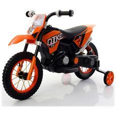 Moto Cross Elettrica Ruote In Gomma 6 Volt 7 / ah Colore Arancione