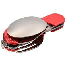Set Coltello, cucchiaio, Forchetta, Apribottiglia 4-in-1 Campeggio Outdoor Rosso