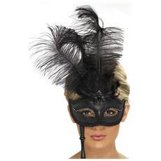Maschera Veneziana Con Piume Nere Da Adulto Taglia Unica