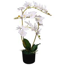 Orchidea Artificiale Con Vaso 65 Cm Bianca