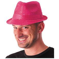 Cappello Borsalino Paillettes Fucsia Rosa Neon Fluo Spettacolo Teatro Paillette Ballo Cappellino Raso Uomo Donna Slim