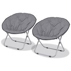Sedie Pieghevoli Moon Chair 2 Pz Grigio Acciaio 80x67x77 Cm