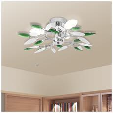 Lampada da soffitto con braccia a foglie bianche e verdi in cristallo acrilico per 3lampadine E14