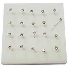 Set 3 Pezzi Piercing Orecchini Naso 2 Mm Brillantino Bianco Grande Brillantini Argento 925 Sterling Orecchino Graffettati