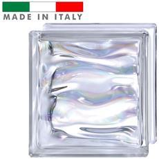 Vetromattone Vetrocemento Mattone In Vetro Ondulato Perlato Agua Prestige 19 X 19 X 8 Cm
