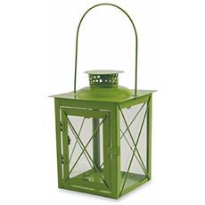 2415010 Lanterna In Metallo Con Manico, 15x15xh21 Cm, Verde