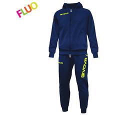 Tuta King Givova Completo Di Giacca Con Zip Manica Lunga Con Cappuccio E Pantalone Colore Blu / giallo Fluo Taglia S