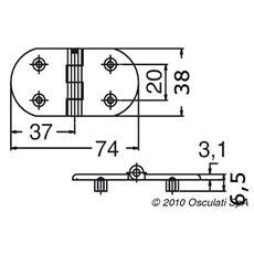 Cerniera Cieca Microfusa Argento Acciaio Inox 74 x 37.7 mm 38.963.10