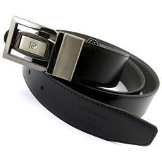 cintura in pelle '' nero / grigio - 110 cm 30 mm - [ n5595]