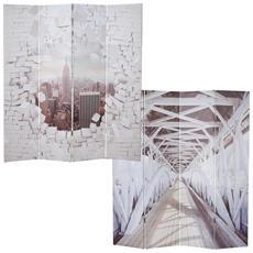 Paravento Divisore Doppia Immagine 4 Pannelli T234 160x180cm New York