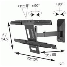 Universal Mount w / tilt swivel arm Nero supporto da parete per tv a schermo piatto