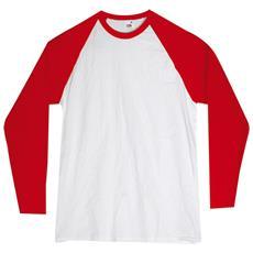 T-shirt Girocollo Maniche Lunghe In Cotone Colore Bianco E Rosso Taglia 2xl