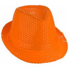 Cappello Borsalino Paillettes Arancione Neon Fluo Spettacolo Teatro Paillette Ballo Cappellino Raso Uomo Donna Slim