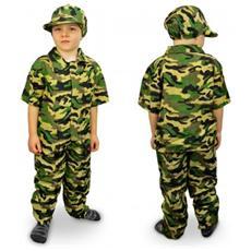 619397 Costume Carnevale Travestimento Militare Da Bambino Da 3 A 12 Anni - 3/5 Anni