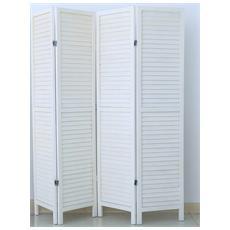 Paravento Persiana Di 4 Pannelli In Legno, Colore Bianco Verniciato - Dim : A170 X L160 Cm