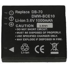 Li-Ion 1000mAh, Ioni di litio, Fotocamera, Nero, DMW-BCE10, Panasonic Lumix DMC-FX30, 33, 35, 37, 55, 500 / FS3, 5, 20 Ricoh R6, R7, R8, R10