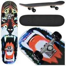 Skateboard Classic (79 X 20,5 X 13,5 Cm) (abec 7 - Cuscinetti A Sfera) (wild Tiger) Tavola Completa / Tavola Vintage