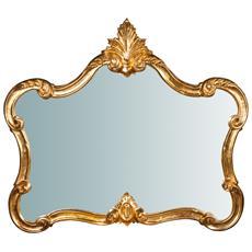 Specchiera Da Parete In Legno Finitura Foglia Oro Anticato Made In Italy L71xpr5xh82 Cm
