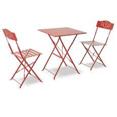 Set bistrò tavolino con sedie rosso