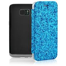 Book Glitter Custodia a Libro con Scocca Trasparente Copertina Glitterata e Portatessere per Galaxy S7 Edge Colore Azzurro