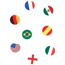 150 Coriandoli Realizzati A Forma Di Bandiere Nazionali Taglia Unica