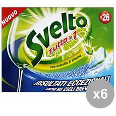 Set 6 Tabs Lavastoviglie Tutto In 1 Limone X 26 Pezzi Detergenti Casa