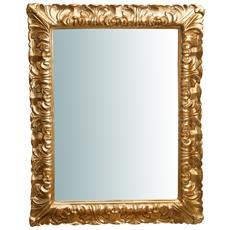 Specchiera Da Parete Verticale / orizzontale In Legno Finitura Foglia Oro Anticato Made In Italy L70xpr4,5xh90 Cm