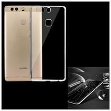 Cover Tpu Silicone Trasparente + Pellicola Vetro Temperato Per Huawei P9 Plus