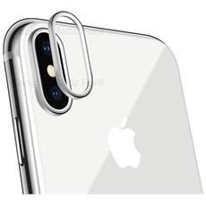 Case Cover Protezione Per Vetro Fotocamera Copri Anello Ring Per Apple Iphone X Argento