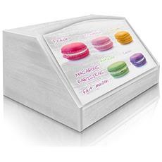 Portapane Con Decoro In 'macarons' In Legno White Dalle Dimensioni Di 30x40x20 Cm