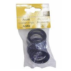 Anelli in metallo per Scorritenda colore Nero Ø interno 25 mm conf. 10 Pz