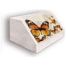 Portapane Con Decoro In 'farfalle' In Legno Shabby Dalle Dimensioni Di 30x40x20 Cm