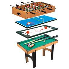 Tavolo Multi Gioco 4 In 1 Con Calcio Balilla, Hockey Da Tavolo, Ping Pong E Biliardo In Legno Mdf, 87 X 43 X 73cm