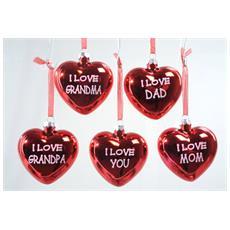Cuore I Love in Vetro da 8 cm Colore Rosso