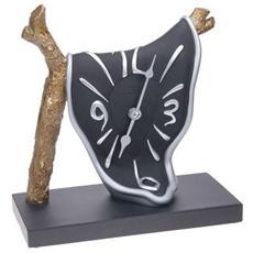 Orologio da tavolo ''Orologio ramo'' in resina decorata a mano Meccanismo al quarzo tedesco UTS Dimensione cm 25x24x11 Colore alluminio e nero