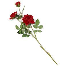 1 Fiori Artificiali Seta Tris Mazzo Di Rose Rosse Finte Decorazione Festa Matrimonio Piccolo