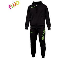Tuta King Givova Completo Di Giacca Con Zip Manica Lunga Con Cappuccio E Pantalone Colore Nero / verde Fluo Taglia 2xs