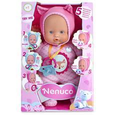 Bambola con 5 funzioni e vestitino rosa