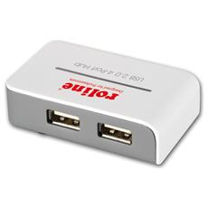 "USB 2.0 Hub ""Black and White"", 4 Ports, with Power Supply, Plastica, 25g, 18 x 65 x 40 mm, 0,5 mm (0.0197"")"