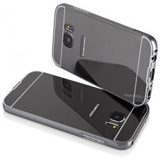 Bumper Cornice In Alluminio Per Samsung Galaxy S7 G930 Serie Luxury Nero Con Back Cover A Specchio