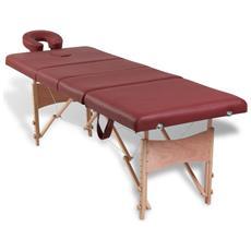 Lettino Pieghevole Da Massaggio Rosso 4 Zone Con Telaio Legno
