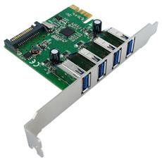 PCI-Express Adapter, 4x USB 3.0, 5 Gbit / s, USB 3.0